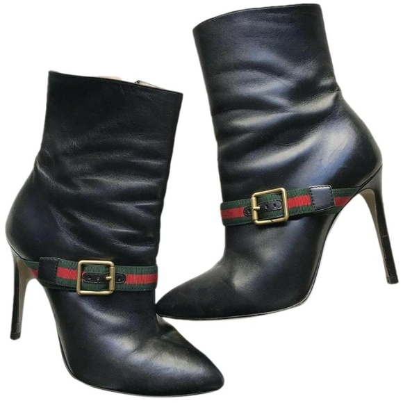 cd79b9210 Gucci Shoes | Black Leather Sylvie 105mm Stripe Boots Size | Poshmark